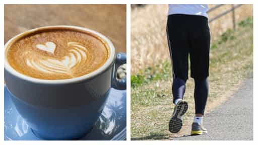 コーヒーとジョギングしてる人